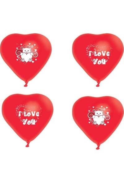 Atom Kalp Balon Seni Seviyorum ve I Love You Baskılı Balon 100 Adet