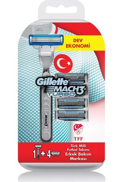 Gillette Mach3 Turbo Milli Takım Özel Paketi Tıraş Makinesi + 4'lü Tıraş Bıçağı + 200 ml Jel + Seyahat Çantası