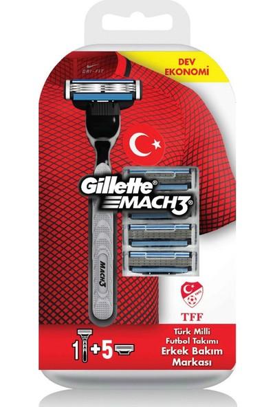 Gillette Mach3 Milli Takım Özel Paketi Tıraş Makinesi + 4'lü Tıraş Bıçağı + 200 ml Tıraş Jeli + Seyahat Çantası