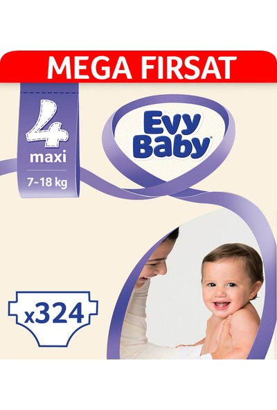 Evy Baby Bebek Bezi 4 Beden Maxi Mega Fırsat Paketi 324 Adet