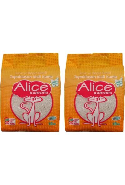 Alice Kartopu Kalın ve Beyaz Taneli Kedi Kumu 10 kg - 2'li