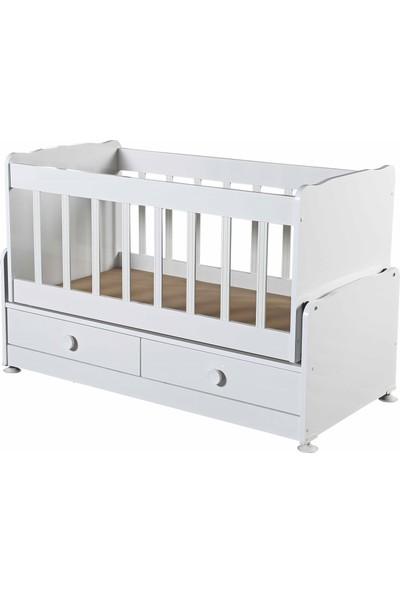 Diverso Home Çekmeceli Sallanır Anne Yanı Ahşap Bebek Beşik Seti Cibinlik Tülü Aparatı Yatak Uyku Seti