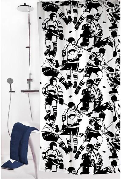 Melodie Banyo Duş Perdesi Siyah Beyaz 180X200