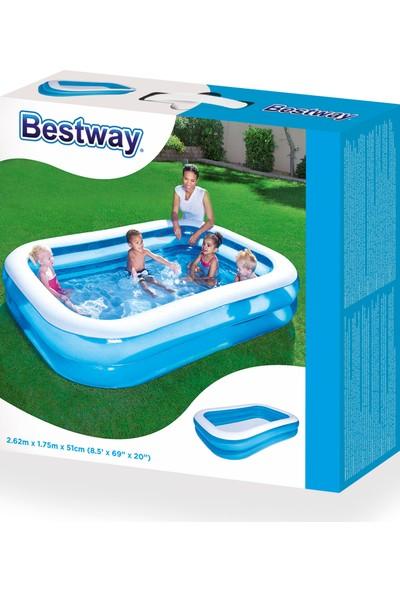 Bestway Dikdörtgen Şişme Çocuk Havuzu (262 cm x 175 cm x 51 cm ) BW54006