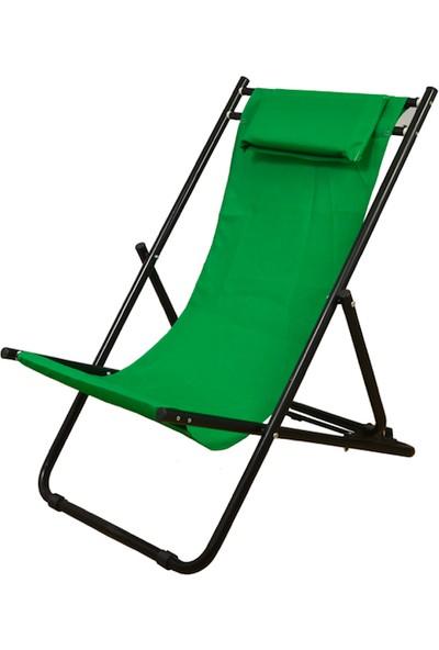 Karacaoutdoor Plaj Sandalye Koltuk Şelong Katlanır Yastıklı 4 Kademeli Yatar Yükseklik Ayarlı
