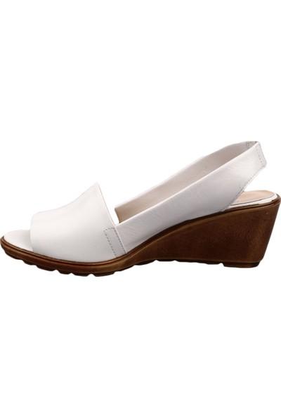 Dgn 9381 Kadın Dolgu Taban Slingbacks Sandalet Beyaz