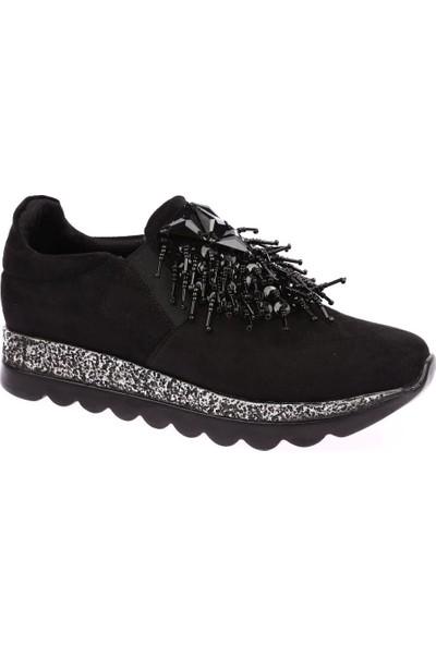 Dgn K455 Kadın Pullu Boncuklu Spor Ayakkabı Siyah Süet