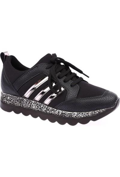 Dgn K6000 Kadın Kalın Taban Stretch 3 Bant Spor Ayakkabı Siyah