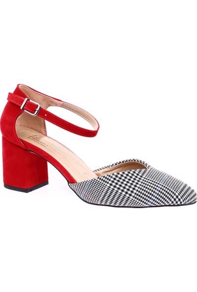 Dgn K705 Sivri Burun V Kesim Dekolteli Bilekten Bağlı Kısa Topuklu Ayakkabı Kırmızı Süet Ekose