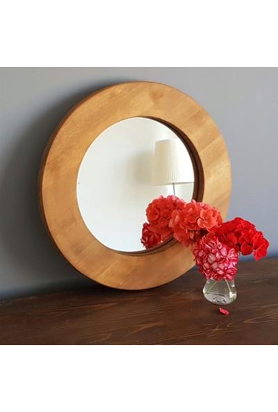 Neostill Doğal Ahşap Masif Çerçeve Dekoratif 45CM Ayna