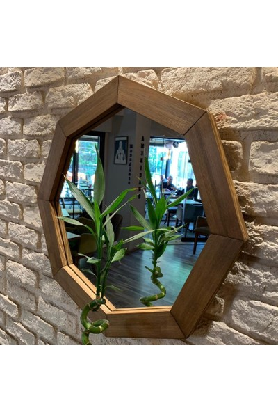 Neostill Doğal Ahşap Masif Çerçeve Dekoratif Sekizgen Ayna