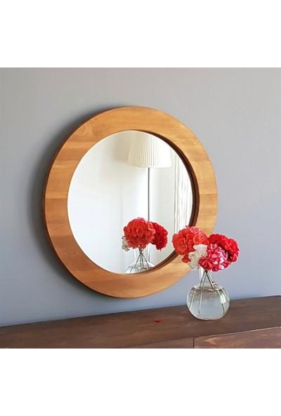 Neostill Doğal Ahşap Masif Çerçeve Dekoratif 62 cm Ayna