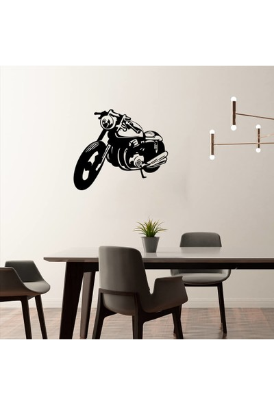New Jargon Eski Tip Motorsiklet Sticker - Siyah 60 x 51 cm