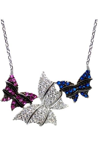 Minamis Silver Üçlü Kelebek Kolye 925 Ayar Bayan Gümüş Kolye
