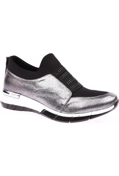 Dgn B40.403 Kadın Strech Detaylı Silver Taşlı Spor Ayakkabı Platin Sultan