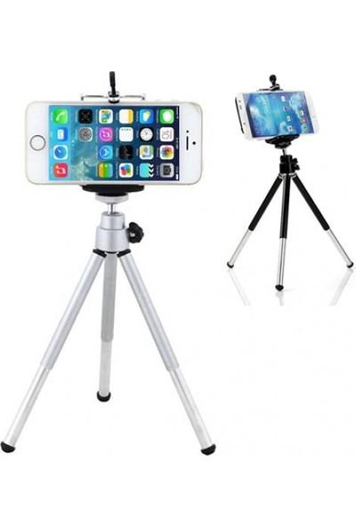 GOB2C iPhone Samsung HTC Gümüş için Mini 360° Dönebilen Stand + Telefon Tutucu