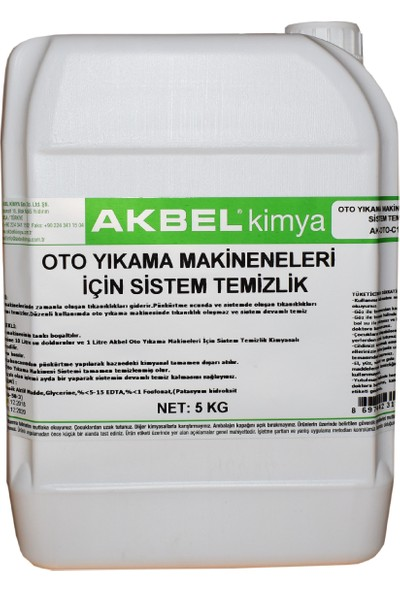 Akbel Oto Yıkama Makineleri İçin Sistem Temizlik 5 Kg