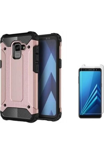 Tbkcase Samsung Galaxy A8 2018 Plus Ultra Koruma Tank Kılıf Rose Gold + Nano Ekran Koruyucu