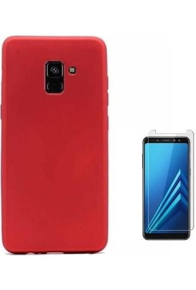 Tbkcase Samsung Galaxy A8 2018 Lüks Silikonlu Kılıf Kırmızı + Nano Ekran Koruyucu