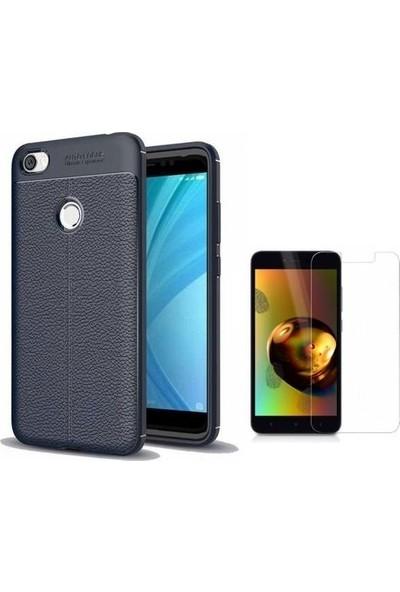 Tbkcase Xiaomi Redmi Note 5A Prime Deri Dokulu Silikon Lacivert + Nano Ekran Koruyucu