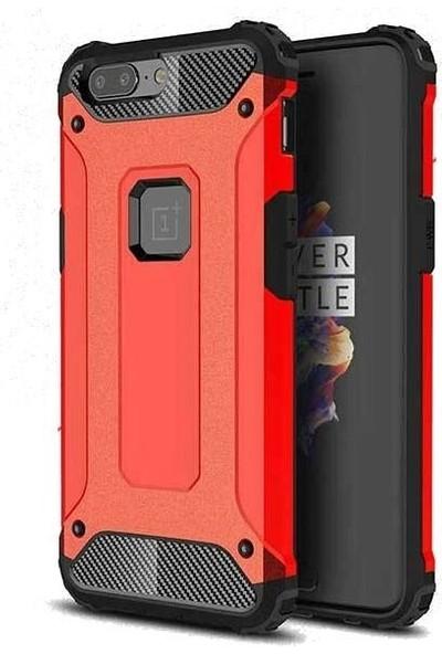 Tbkcase OnePlus 5T Çift Katmanlı Tank Kapak Kılıf Kırmızı
