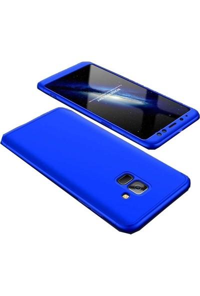 Tbkcase Samsung Galaxy A8 2018 Plus 360 Full Korumalı Kapak Mavi