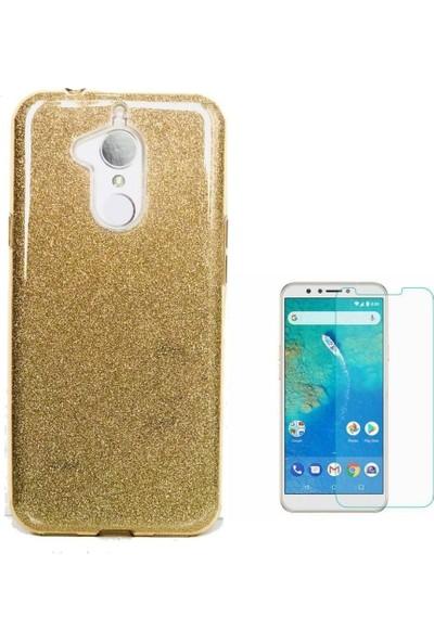 Tbkcase General Mobile GM 8 Lüks Simli Silikon Kılıf Gold + Nano Ekran Koruyucu