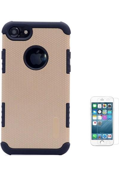 Tbkcase Apple iPhone 8 Armour Hybrid Çift Katmanlı Kapak Kılıf Gold + Cam Ekran Koruyucu