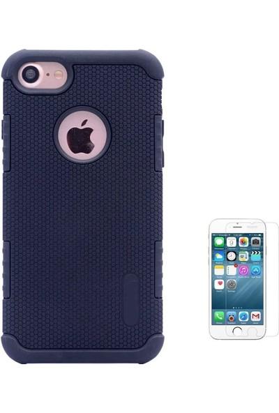 Tbkcase Apple iPhone 7 Plus Armour Hybrid Çift Katmanlı Kapak Kılıf Siyah + Cam Ekran Koruyucu