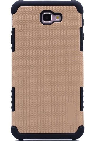Tbkcase Samsung Galaxy J7 Prime Armour Hybrid Sert Kılıf Gold + Cam Ekran Koruyucu