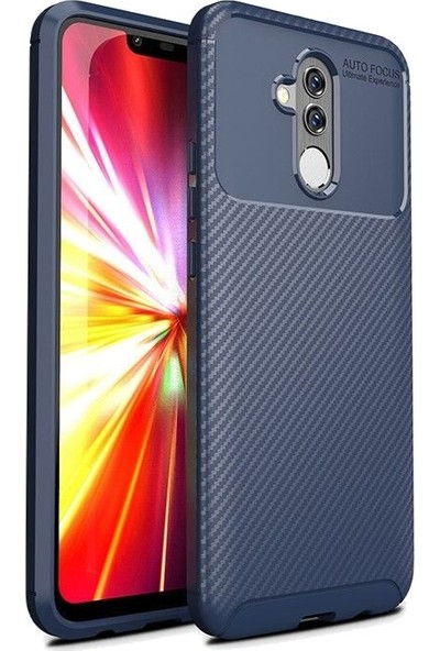 Tbkcase Huawei Mate 20 Lite Ultra Soft Negro Karbon Silikon Kılıf Lacivert + Nano Ekran Koruyucu