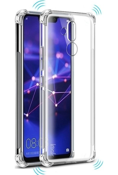 Tbkcase Huawei Mate 20 Lite Darbe Koruma Silikon Kılıf Şeffaf + Nano Ekran Koruyucu