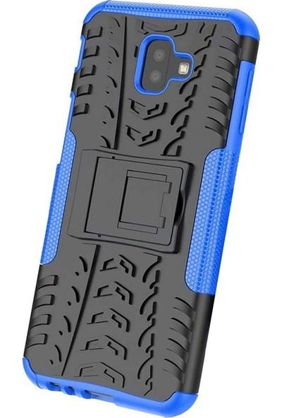 Tbkcase Samsung Galaxy J6 Plus Dazzle Standlı Tank Kapak Kılıf Mavi