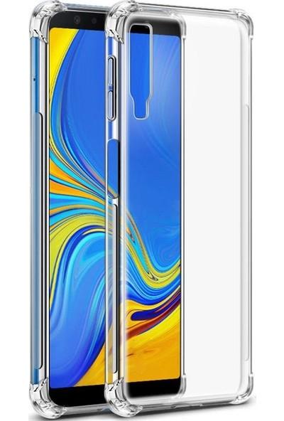 Tbkcase Samsung Galaxy A7 2018 Darbe Korumalı Silikonlu Kılıf Şeffaf