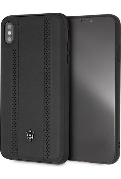 Tbkcase Maserati Apple iPhone XS Max (Plus) Sert Deri Kapak Siyah