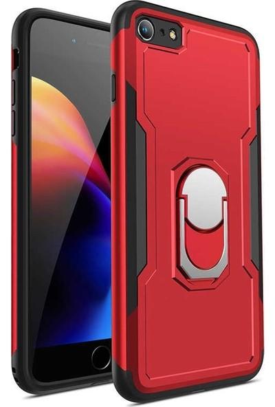 Tbkcase Apple iPhone 8 Plus Bon Sert Plastik Kılıf Kapak Kırmızı + Nano Cam Ekran Koruyucu