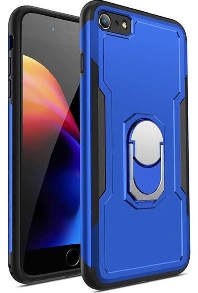 Tbkcase Apple iPhone 8 Plus Bon Sert Plastik Kılıf Kapak Mavi + Nano Cam Ekran Koruyucu
