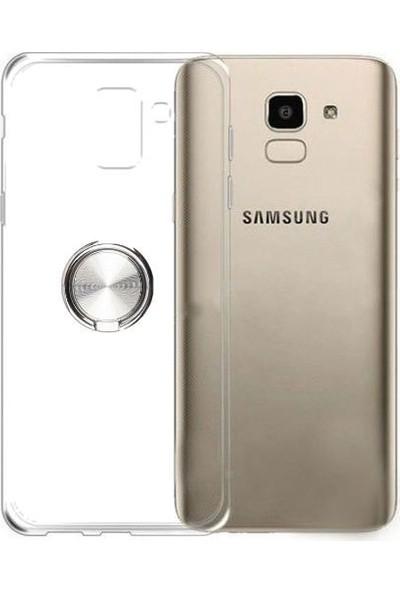 Tbkcase Samsung Galaxy S9 Ultra Şeffaf Yüzüklü Silikon Kılıf Gri