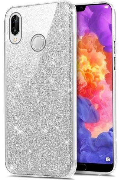 Tbkcase Samsung Galaxy M20 Shining Simli Silikon Kılıf Gümüş