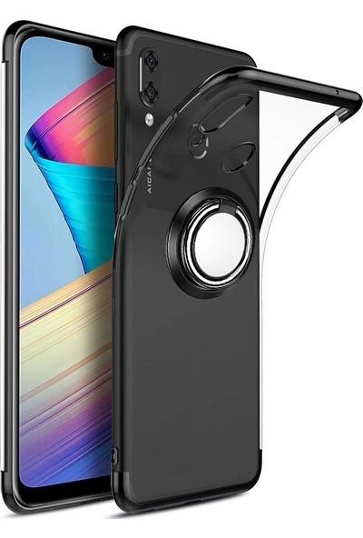 Tbkcase Samsung Galaxy A30 Lüks Lazer Yüzüklü Silikon Kılıf Siyah + Nano Ekran Koruyucu