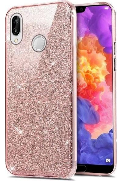 Tbkcase Samsung Galaxy A30 Shining Simli Silikon Kılıf Pembe + Nano Ekran Koruyucu