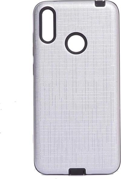 Tbkcase Huawei Y7 2019 Youyou Silikon Kılıf Gümüş + Nano Ekran Koruyucu