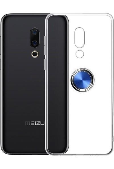 Tbkcase Meizu X8 Yüzüklü Silikon Kılıf Mavi + Nano Ekran Koruyucu