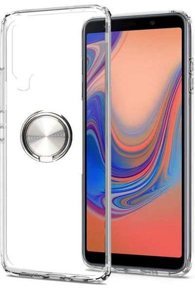 Tbkcase Samsung Galaxy A70 Ultra Şeffaf Silikon Yüzüklü Silikonlu Kılıf Gri