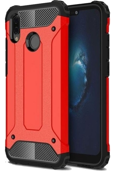 Tbkcase Samsung Galaxy A20 Çift Katmanlı Tank Kapak Kılıf Kırmızı