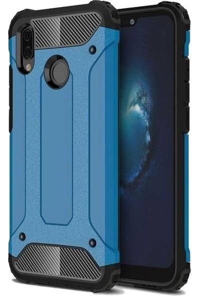 Tbkcase Samsung Galaxy A20 Çift Katmanlı Tank Kapak Kılıf Mavi