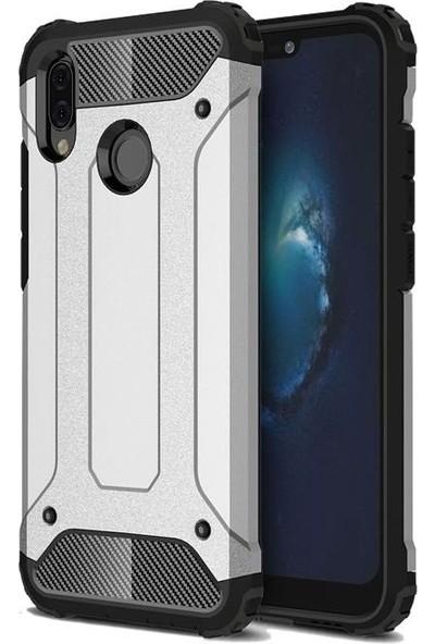 Tbkcase Samsung Galaxy A40 Çift Katmanlı Tank Kapak Kılıf Gümüş
