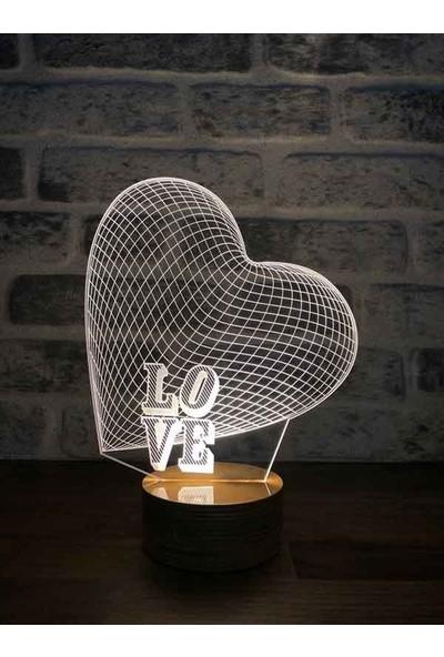 By-Lamp 3 Boyutlu Büyük Kalp Lamba Tasarımı