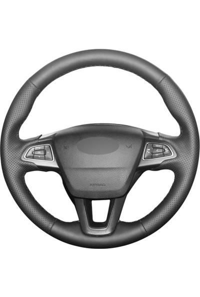 Fox Ford Focus 3 2015-2018 Siyah Deri Direksiyon Kılıfı (FO-002)