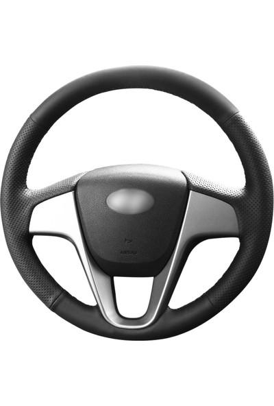 Fox Hyundai I20 2009-2015 Siyah Deri Direksiyon Kılıfı (HY-002)